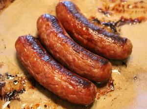 Baked sausages. ©2014 Deborah Kaplan