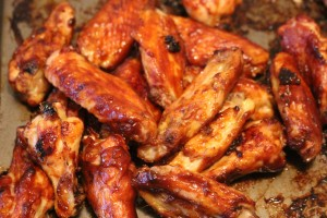Wings baked to perfection.