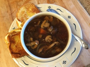 Serve soup with a grilled cheese sandwich.
